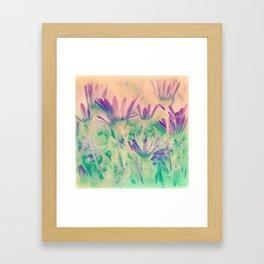 Dreamy Spring Lavender Daisy Flowers Framed Art Print