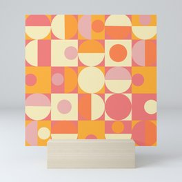 Thoroughly Modern Pink And Orange Geometric Design Mini Art Print