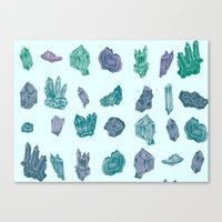 minerals Canvas Prints featuring Mystical Minerals by Hannah Margaret Illustrations