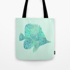Butterflyfish Buttefly Fish Tropical Fish Vintage Floral Mint Teal Turquoise Blue Tote Bag