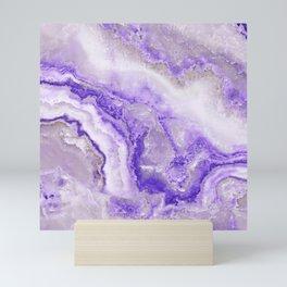 Ultra Violet and Gray Marble Agate Quartz Mini Art Print