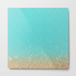 Sparkling gold glitter confetti on aqua teal damask background Metal Print
