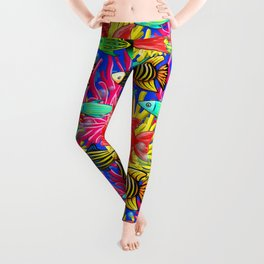 Fish Cute Colorful Doodles Leggings