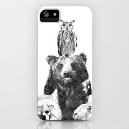 Black and White Woodland Animals iPhone Case