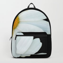 Hello Daisy - White Flower Black Background #decor #society6 #buyart Backpack