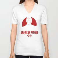 american psycho V-neck T-shirts featuring American Psycho by Buby87
