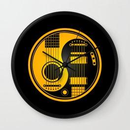 Yellow and Black Acoustic Electric Yin Yang Guitars Wall Clock