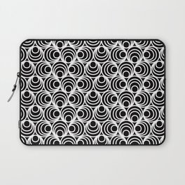 Minimal - white polka circles and dots on black - Mix&Match with Simplicty of life Laptop Sleeve