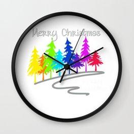 Clorful Rainbow Trees  -- Merry Christmas white Wall Clock