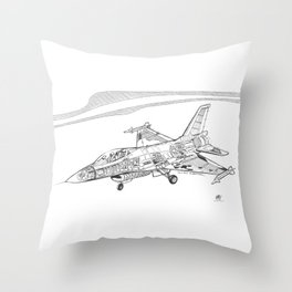 F16 Cutaway Freehand Sketch Throw Pillow