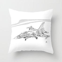F16 Cutaway Freehand Sketch Throw Pillow