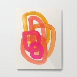 Funky Retro 70' Style Pattern Orange Pink Greindent Striped Circles Mid Century Colorful Pop Art Metal Print