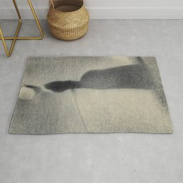 Georges Seurat - Woman Fishing - Rare French Retro Vintage Drawing Rug