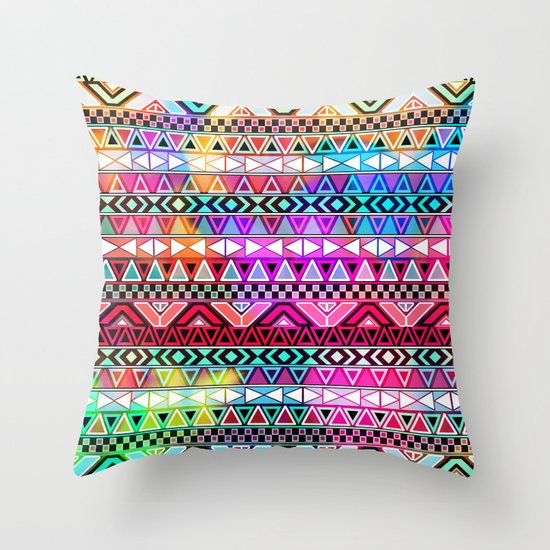 Neon Aztec   Purple Pink Neon Bright Andes Abstract Pattern Throw Pillow