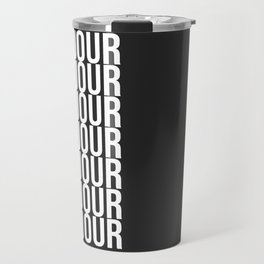 BONJOUR Word Art in Black and White Travel Mug