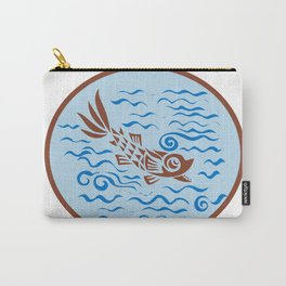 Medieval Fish Swimming Oval Retro Carry-All Pouch