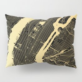 New York City Black and Gold Map Pillow Sham