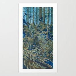 Forest Salmon Run  Art Print