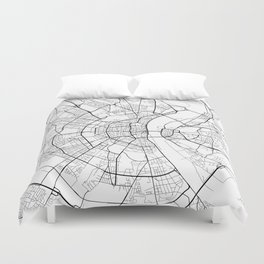 Cologne Map, Germany - Black and White Duvet Cover
