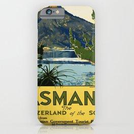 retro Tasmania Switzerland of the South travel poster iPhone Case