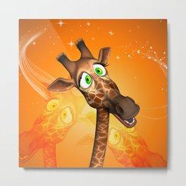 Funny cartoon giraffe Metal Print
