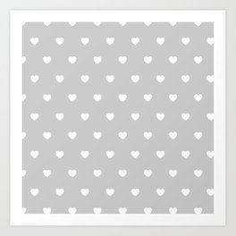 HEARTS ((white on calm gray)) Art Print