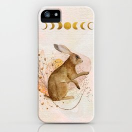Magical Forest Rabbit Watercolor Painting | Gentle Abstract Blush Pink Flowers | Golden Moon Phases iPhone Case