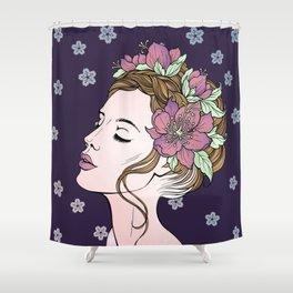 Flower Crown Girl Shower Curtain