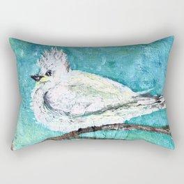 Bird in a white fluffy coat Rectangular Pillow