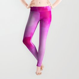 Glowing Pink Floral Abstract Leggings