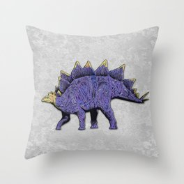 Purple & Gold Stegosaurus Dinosaur on Grey Rock Background Throw Pillow