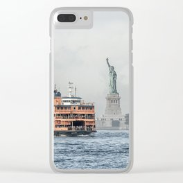 Staten Island Ferry & Statue of Liberty Clear iPhone Case