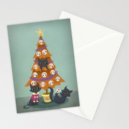 Meowy christmas sugar skulls Stationery Cards