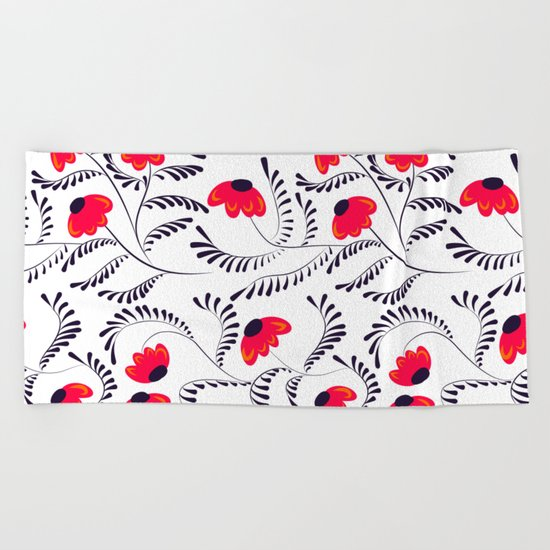 Beauty simple seamless floral pattern swirl Beach Towel