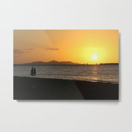 Fishermen at sunset Metal Print