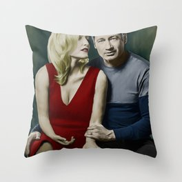 Gillian Anderson and David Duchovny painting Throw Pillow