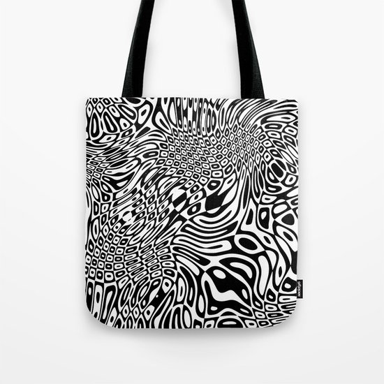 Black white psychedelic optical illusion Tote Bag