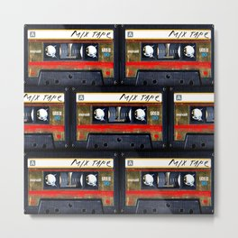 Retro classic vintage gold mix cassette tape Metal Print
