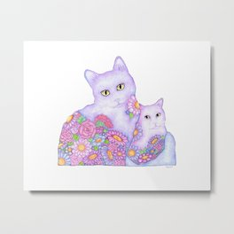 Bart and Clay - A Portrait of Two Cats  Metal Print