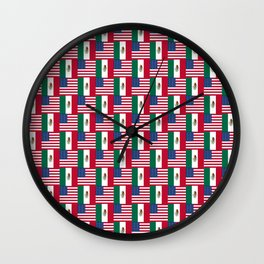 Mix of flag: mexico and usa Wall Clock