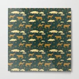 Leopards on the Prowl, Seamless Leopard Pattern Metal Print