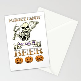 Halloween Costume Forget Candy Just Give Me Beer Gift Stationery Cards