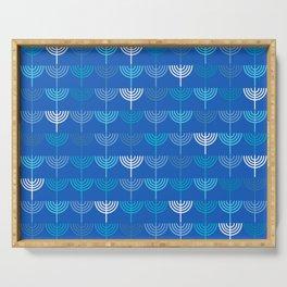 Hanukkah Chanukah Menorah Chanukkiah Pattern in Blue Serving Tray