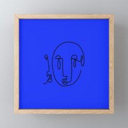 Abstract Faces: Blue Framed Mini Art Print