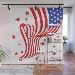 AMERICAN FLAG  & RED STARS JULY 4TH ART Wall Mural