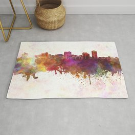 Manila skyline in watercolor background Rug