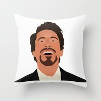 robert downey jr Throw Pillows featuring Robert Downey Jr. by Kaylabeaisaflea