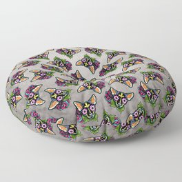 Chihuahua in Black - Day of the Dead Sugar Skull Dog Floor Pillow