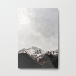 Scenic Mountain Photograph Grunge Weathered Look Metal Print