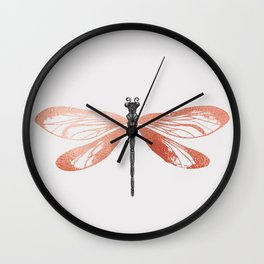Rose Gold Dragonfly Wall Clock